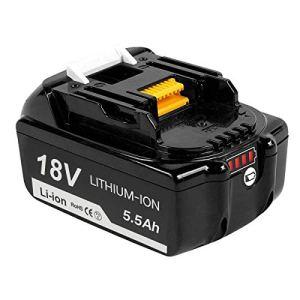 Topbatt BL1860B 5.5Ah pour Makita 18V batterie Lithium-ion de rechange BL1860 BL1850B BL1850 BL1840 BL1830 BL1835 BL1845 BL1815 LXT-400 avec Indicateur LED Sans fil Outils électroportatifs