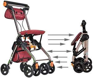 Walker pliage léger 4 Roues Walking Portable Aids Pliable, promenade Walker déambulateur avec siège, médical roulant Walker Double système de freinage, d'occasion for les personnes âgées marche Siège