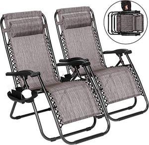 2 jeux de chaise pliante de plage zéro chaises gravité des chaises longues, des chaises longues plage camping jardin terrasse,Brown