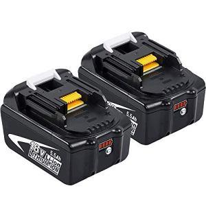 2 X DOSCTT BL1860B 18V 5500mAh Li-ion Packs de Batterie Remplacement pour Makita BL1850B BL1850 BL1860B BL1860 BL1840B BL1830B 194204-5 196673-6 LXT-400 avec indicateur