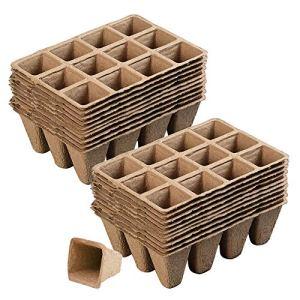 240 Pots Biodégradables, 20 Pièce Pot de Semis avec 12 Compartiments, Plateau pour Graines de Jardinage, Récipient de Germination