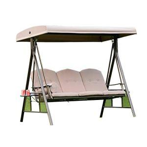 3 Sièges Bancs Chaise De Balançoire De Porche En Plein Air Polyester Réglable Auvent Maison Banc De Balançoire En Plein Air Avec Porte-gobelet D'eau Pour Envoyer Un Coussin