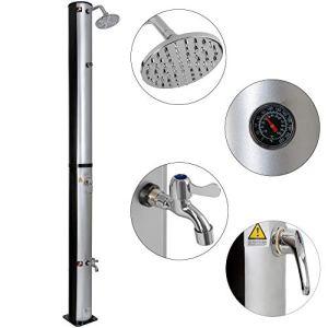 Arebos Douche Solaire 37 l / 198 cm / Température de l'eau réglable / Pommeau de douche réglable