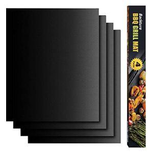 BACKTURE Tapis de Cuisson, Set de 4 Tapis Barbecue 50x40cm, Papier Cuisson Épaissir pour Barbecue Grille et Four, Anti-adhérent et Réutilisable, sans-PFOA