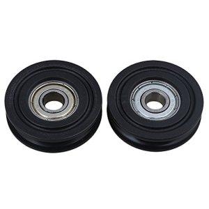 BQLZR Id8X Od40X T10mm 608ZZ Pom Noir U Groove Guide Poulie de roue Rail Roulement à billes pour meuble Poulie Lot de 2