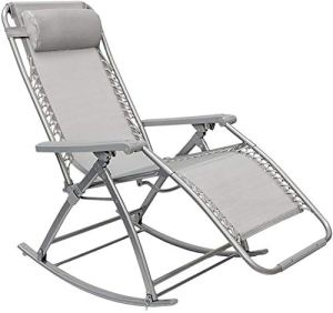 Chaise à bascule de jardin, avec repose-pieds réglables et à l'arrière des chaises longues, le support, le poids maximum de 120 kg,Grey