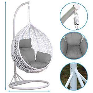 Chaise suspendue en plein air en rotin avec balançoire Patio de jardin en osier suspendue blanche, chaise en forme d'œuf, hamac, coussin 150kg chargeable