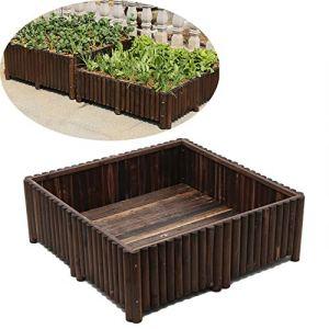 CJSWT Jardin arboré Lit, Bois Raised Jardin Lit Boîtes Kit Elevated Parterre de Fleurs jardinière pour légumes en Bois Naturel 120X120x40cm