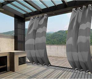 Clothink Rideaux d'extérieur imperméables à œillets pour Jardin, Balcon, Plage, pergola, cabane 132x245cm Gris