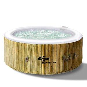 Costway Spa Gonflable Rond pour 4 Places 800L Gonflage Automatique Chauffage,Massage à Bulles,Système de Purification de l'Eau 180 x 180 x 65 cm (Modèle B)