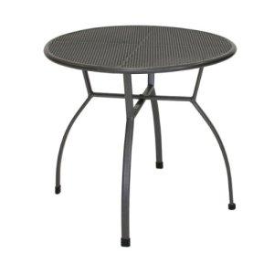 greemotion Table de jardin ronde Toulouse de 80 cm de diamètre – Table ronde grise en acier – Table extérieure pour 4 personnes – Table à manger design – Table moderne inoxydable
