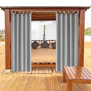 Lot de 1 rideau occultant étanche et anti-moisissures Gris Pour balcon, tonnelle, cabine de plage 132 x 235 cm