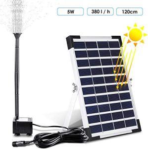 MVPOWER Pompe à eau solaire pour bassin de bassin de jardin de piscine de fontaine (500L) H 5W 28 * 17,6 * 1.7cm Noir