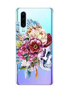 Oihxse Clair Crystal Soft Silicone Compatible pour XiaomiMi10Pro 5G Coque Transparente TPU Crâne Rose Motif Design Housse Ultra Mince Protection Antichoc Etui(E9)