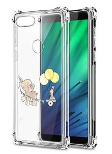 Oihxse Crystal Coque pour Xiaomi Redmi Note 8T Transparent Silicone TPU Etui Air Cushion Coin avec Motif [Elephant Lapin] Housse Antichoc Protection Bumper Cover (A1)