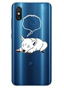 Oihxse Mode Transparent Silicone Case Compatible pour Xiaomi Redmi Note 8 Coque, Ultra Mince Souple TPU Mignon Animal Série Protection de Housse Anti-Scrach Bumper Etui -Chien