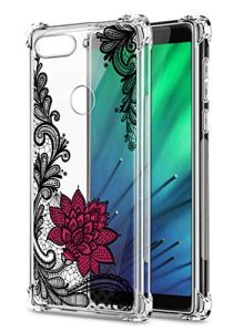 Oihxse Transparent Coque pour Xiaomi Redmi S2/Y2 Souple TPU Silicone Protection Etui Air Cushion [Shock-Absorption] [Anti-Rayures] Fleurs Motif Housse Bumper (B6)