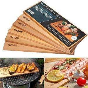 Planches à fumer 3 paquets en bois de cèdre canadien | ca. 28x14x1cm planches à griller ou à BBQ idéales pour la viande de poisson et légumes | planche fumée pour plus d'arôme et de vrai goût.