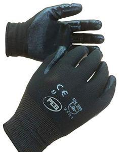 PWS Lot de 12paires de gants de travail en nylon enduit de nitrile Taille 9/L