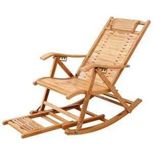 QWER Chaise Pliante – Réglable Loisirs Portable Recliner – Bamboo Garden Rocking Chair Lawn Président Sun Chaise Pliante