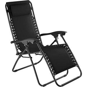 TecTake 800583 Chaise Longue Toile Tendue, Pliable, avec Rembourrage de Tête Amovible, Charge Max: 110 kg – diverses Couleurs – (Noir | n° 402927)