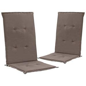 Tidyard Coussins de Chaise de Jardin 2 pcs/Coussin de Siège de Jardin 120 x 50 x 3 cm en 100% Polyester Taupe