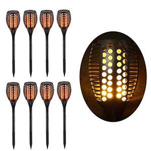 Torche LED Extérieur étanche & Solaire – Décoration de Jardin – Effet Flamme – Lot de 8