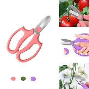 Winnes Ciseaux de taillage à motif floral avec poignée confortable en acier inoxydable de qualité rose