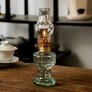 YFYW Lampe à pétrole en Verre Lampe à Huile Rétro Transparent Lampe à Huile de Bureau Lampe d'urgence à la Maison Extérieure Coupe-Vent Verre Lampe de Tente de Camping (Couleur: Transparent) (20cm)