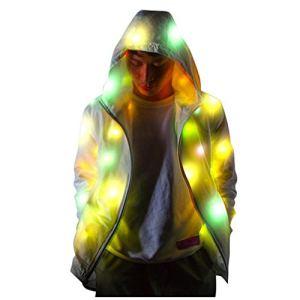 Yumso Veste Lumineuse Colorée Veste Clignotante pour Homme et Femme LED Veste à Capuche Party Carnival Noël Très Grand Vêtements De Sport Manteau S-5XL