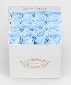 100% Real Roses That Last A Year – The Perfect Unique Gift for Women, Men, Anniversary Gift, Birthday Gift – White Velvet (Baby Blue)