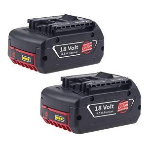 2X FUNMALL BAT610G 18V 5.5Ah Remplacement pour Bosch 18V Batterie Li-ion Professionnel BAT609G BAT610G BAT618G BAT619 BAT621 BAT620 avec Indicateur de Charge LED Outils Électriques Sans Fil