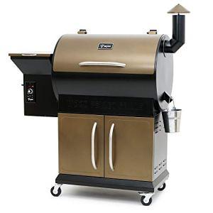 BBQ-Toro Pellet Smoker Grill PG1 | Fumoir entièrement Automatique | Noir – Or | Barbecue à Pellet avec Couvercle | Barbecue à Pellet en Bois