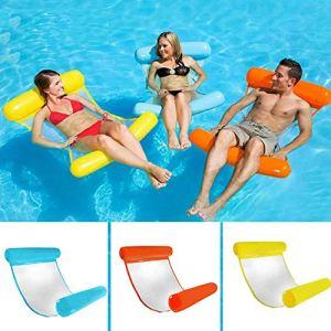 fgfh Piscine gonflable lit flottant eau chaise flottante siège lit gonflable sécurité inclinable hamac inclinable été natation fête 3 pcs