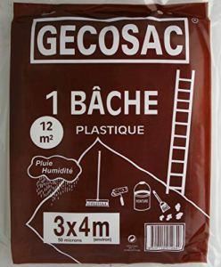 Gecosac Bâche de Protection polyéthylène translucide 3 x 4 mètres 50 microns épais, Universel