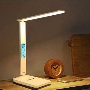 HMY Bureau LED Lampe De Bureau Tactile Dimmable Pliable avec Calendrier Température Table Réveil Lampe De Lecture,Blanc