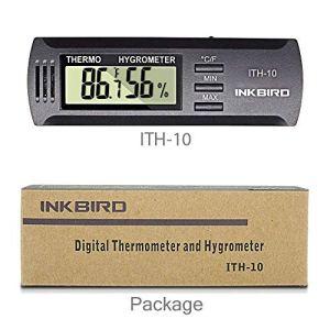 Inkbird ITH-10 Exterieur Thermometre & Hygrometre Digital Interieur , Temperature et Humidite Testeur Meter pour Cave a Cigares, Frigo,Cave a Vin, Terrarium,Boite Reptiles,Humidor Cigare,Mini Serre,Sol