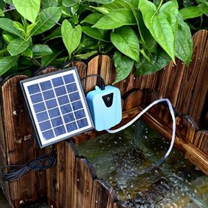 Juman634 Panneau Solaire alimenté en Courant Alternatif à Double Usage de Pompe à air de Bassin Oxygenator Aérateur pour Le réservoir de Poissons Piscine d'urgence Pompe d'aération extérieure