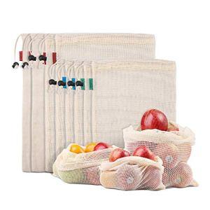 Sacs De Produits Réutilisables pour Fruits, Légumes, Organisation De Réfrigérateur, Jouets, Léger Et Cordon, Double Couture, étiquette De Poids De Tar