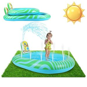 Thrivinger Splash Play Mat Sprinkler Pad pour Enfants, 173cm Water Splash Play Mat, Outdoor/Garden/Beach Water Spray Mat Toys Games for Baby/Children/Toddler Activitie