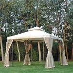 WSN Gazebo Garden, Double Top Outdoor Patio Party Canopy événement Tente de Mariage arrière-Soleil avec Mesh Rideau 3 (M) x3 (M)