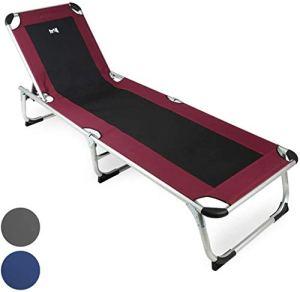 WYQ Pliant Reclining Sun Lounger, Dossier réglable, Portable Recliner, Plage, Camping, Jardin, Folds pour Rangement Facile