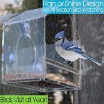 YJJ Acrylique Fenêtre Mangeoire, Fenêtre Mangeoire Effacer Plexiglas Hanging Mangeoire avec Ventouse