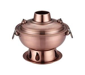 Copper Hot Pot Stove Chimney Pot Outdoor Chinese Chongqing Charcoal Hotpot Cooker Picnic Cooker (red copper)