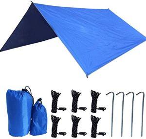 COUYY Hamac Pluie Fly Camping Abri Pare-Soleil, 300x300cm Tissu Oxford léger imperméable Snowproof Durable Tente Portable Compact Tarp, pour la randonnée Plage Pêche Pique-Nique,Bleu