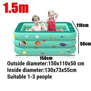 FDET Enfants Baignoire Baignoire Bébé Usage Domestique Pataugeoire Gonflable Carré Piscine Enfants Piscine Gonflable 3 Couleurs 120/130/150 cm, 150 cm Vert