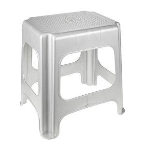 keeeper Maxi-Tabouret, Plastique Robuste (PP), 41 x 33,5 x 42,5 cm, Max, Argent