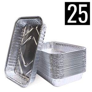 Mamatura – Bols en aluminium | 25 pièces | Convient pour Landmann Pantera | 21 x 14 cm, 680 ml | Bacs d'égouttement en aluminium, Bols à griller
