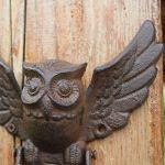 MOOSUNGEEK Poignée de porte en fonte amovible en forme de chouette pour la maison, la boutique et le café avec 10 vis