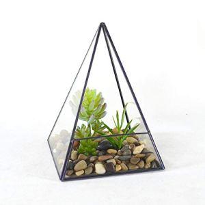 Pot de fleurs en verre pyramide verticale en métal et verre géométrique Terrarium pour la maison et les mariages, décoration intérieure et extérieure 14x14x18.5cm transparent